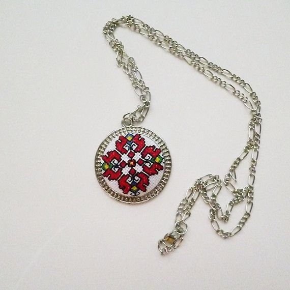 Embroidered necklace,Embroidered pendant, Red embroidery,Round pendant,Embroidery,Valentines gifts,Anniversary gifts,Birthday gifts,Gifts