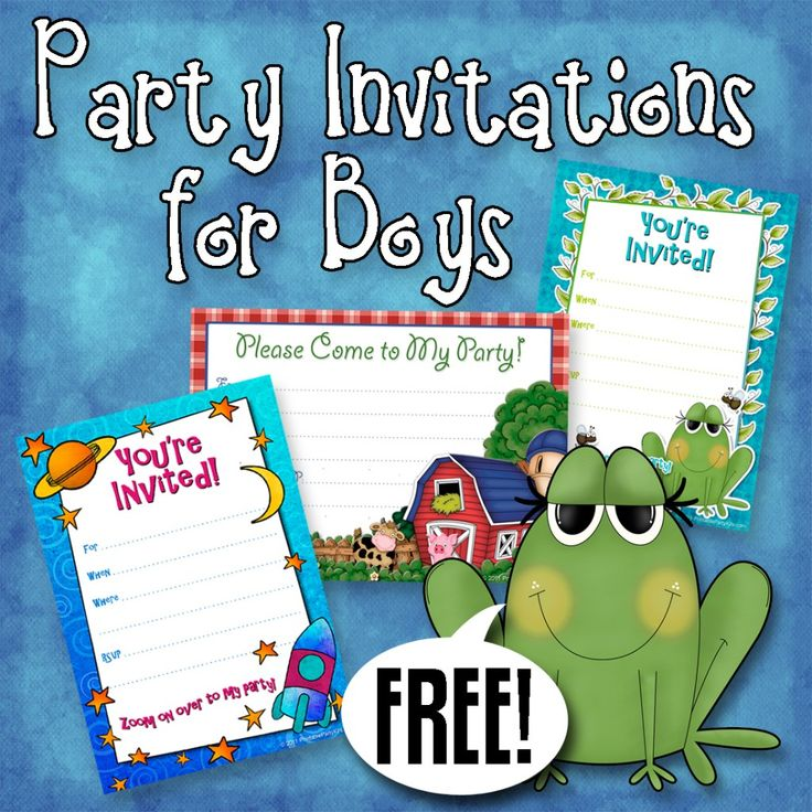 These printable free boys party invites can be made easily at home. They come in a variety of themes, including cars, spaceships, frogs, barnyard animals and puppies.