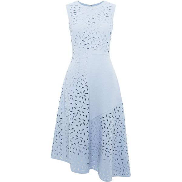 Whistles Cut Out Floral Panelled Dress (3.737.300 IDR) ❤ liked on Polyvore featuring dresses, pale blue, cutout dress, sleeveless dress, floral midi dress, floral dress and blue dress