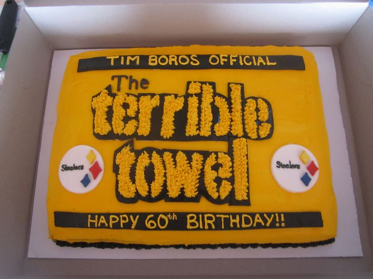 Terrible Towel Cake for Father-Law's Surprise 60th Birthday... This website is the Pinterest of birthday cake ideas