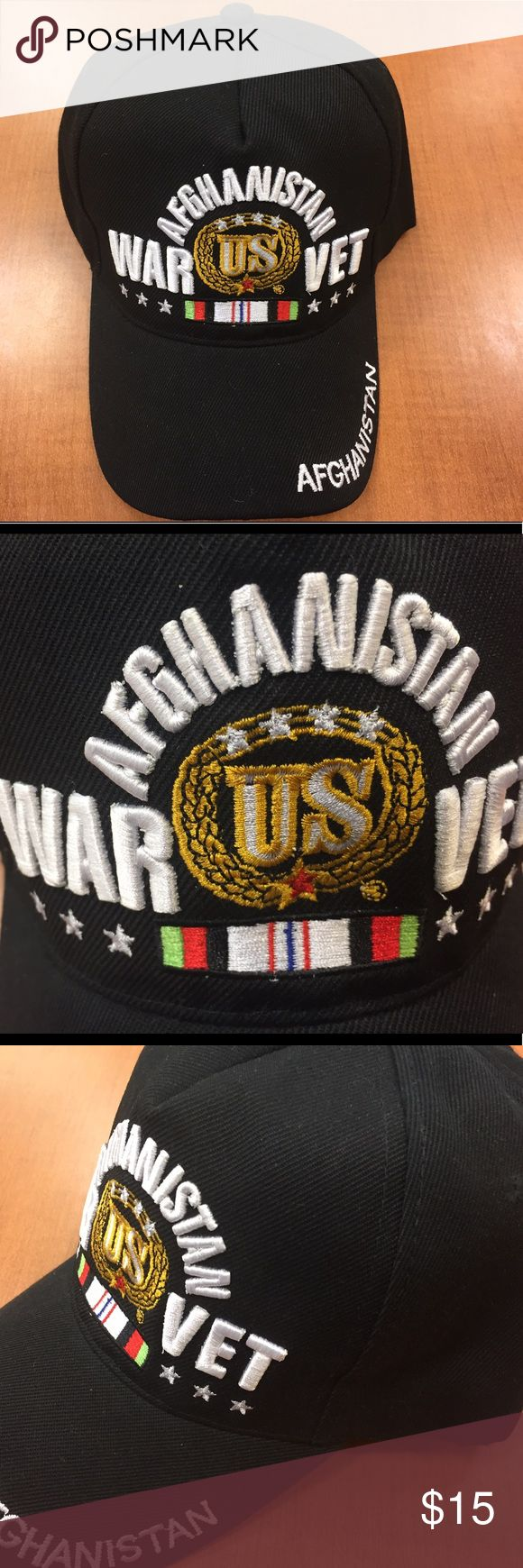 Afghanistan veterans military baseball cap black Our Embroidered Military baseball cap is the ultimate cap. It is a 6-Panel constructed cap with top notch workmanshipIt features 3-D High Definition embroidery on the crown, embroidery on both the edge and top of the bill, and an adjustable Velcro strap with a woven  Afghanistan veteran embroidered across. 100% Acrylic Accessories Hats