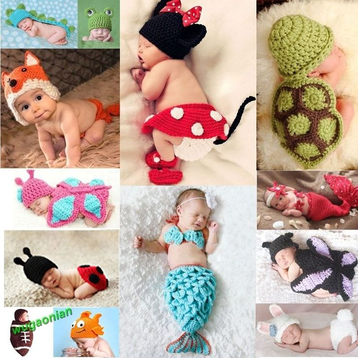 $5.40 Frog - Baby Girls Boy Newborn-9M Knit Crochet Mermaid Minnie Clothes Photo Prop Outfits #Unbrand #Everyday
