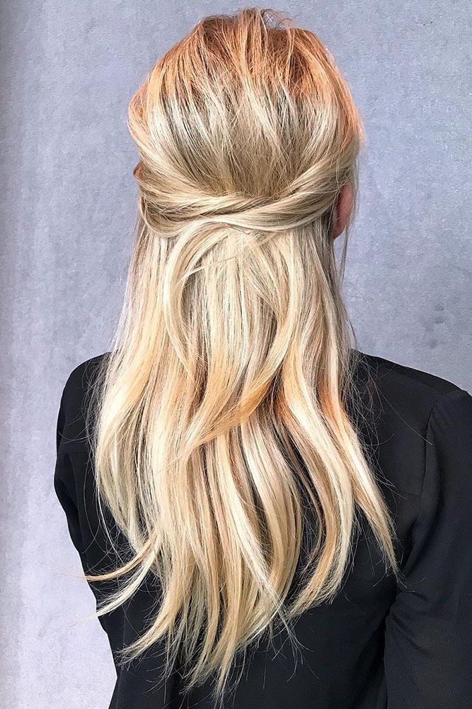 half up half down marriage ceremony hairstyles concepts for lengthy blonde easy trendy elegant…