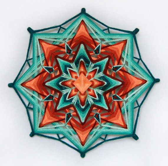 Miracle yarn mandala Ojo de Dios 14.5 inches 37 by JivaMandalas