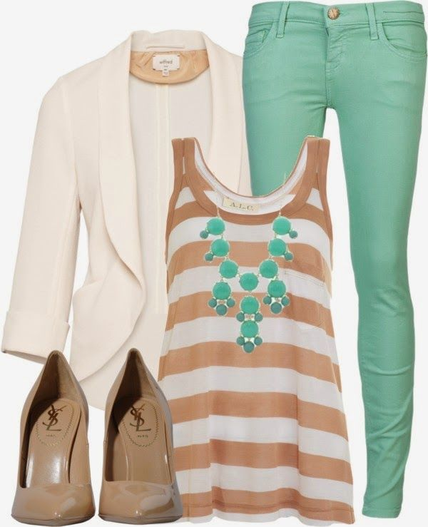Casual Outfit: Mint Pants, Fashion, White Blazers, Color Combos, Cuteoutfit, Mint Jeans, Work Outfit, Cute Outfit, Spring Outfit