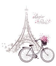Bonjour Paris text with Eiffel Tower and bicycle