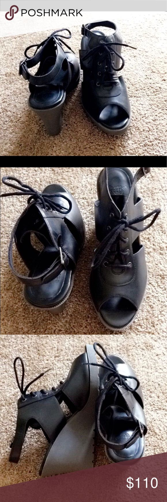 NWOT Dr.Martens Laina Lace Sandal Size US 7 EU 38 NWOT Dr. Martens Black Laina Gemine Leather Lace up Sandal. 3 1/4 Heel. Perfect for a concert or a long maxi dress. These are super cute and no longer made or sold! These wedges are really comfy and can be worn for a long day. They really make a nice statement without overwhelming an outfit.  Tags: Laina Doc Martins Martens Dr.Marten boots heels wedges cute goth edgy punk combat boots Michael kors jimmy choo  dolce goth hardcore Dr. Martens…