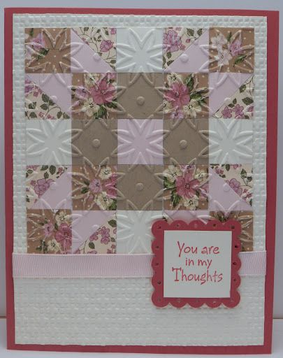 quilt square cardClass Ideas, Cards Ideas, Handmade Quilt, Soft Pink, Quilt Block, Greeting Cards, Cards Inspiration, Quilt Cards, Bonnie Emmons