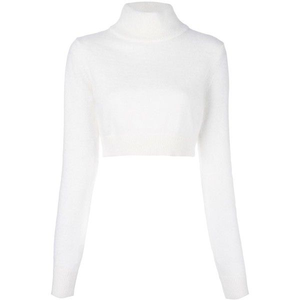Balmain cropped roll neck jumper ($647) ❤ liked on Polyvore featuring tops, sweaters, white, balmain sweater, long sleeve crop top, long sleeve crop sweater, roll neck sweater and long sleeve sweater