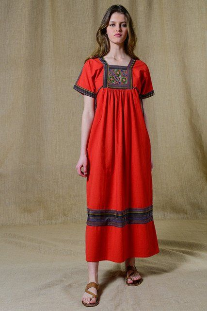 Soeur Blandine Embroidered Red Dress