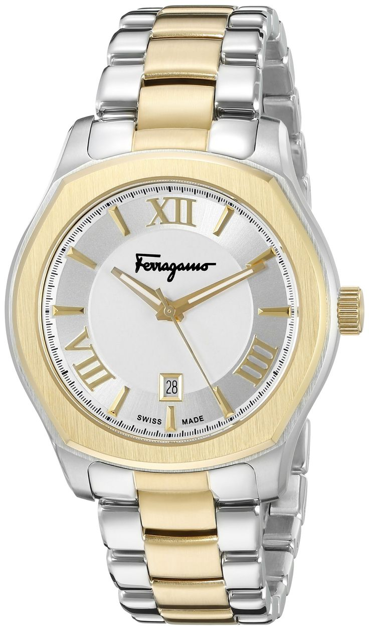 Salvatore Ferragamo Men's FQ1930015 Lungarno Analog Display Quartz Two-Tone Watch. Round watch with Roman numeral and notch indices on sunray outer dial featuring luminous hands and date aperture. 40 mm stainless steel case with mineral dial window. Quartz movement with analog display. Stainless steel band and deployant clasp with push-button closure. Water resistant to 30 m (99 ft): In general, withstands splashes or brief immersion in water, but not suitable for swimming.