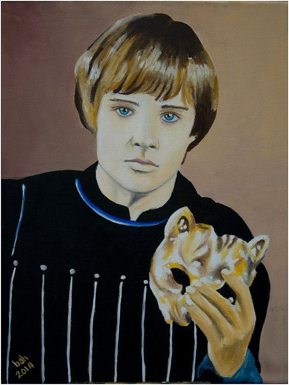 """Romeo at the Capulet ball, beautiful young man, Leonard Whiting, blue eyes, original painting, oil on canvas  Phew, I have done it. My heart is out there and exposed to the world - Romeo is live in my shop!  Painted on wrapped canvas. Canvas size: 16"""" x 12"""" (40cm x 30cm) 3/4"""" deep (1.8cm) Wrapped canvas"""