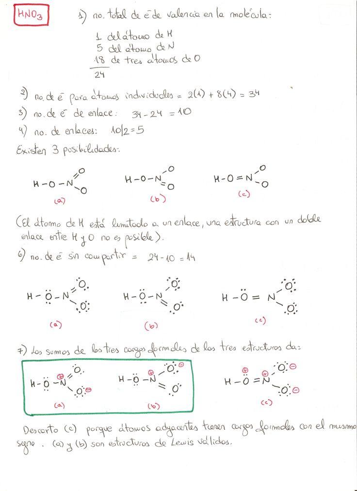 Estructura de Lewis del ácido nítrico (HNO3)