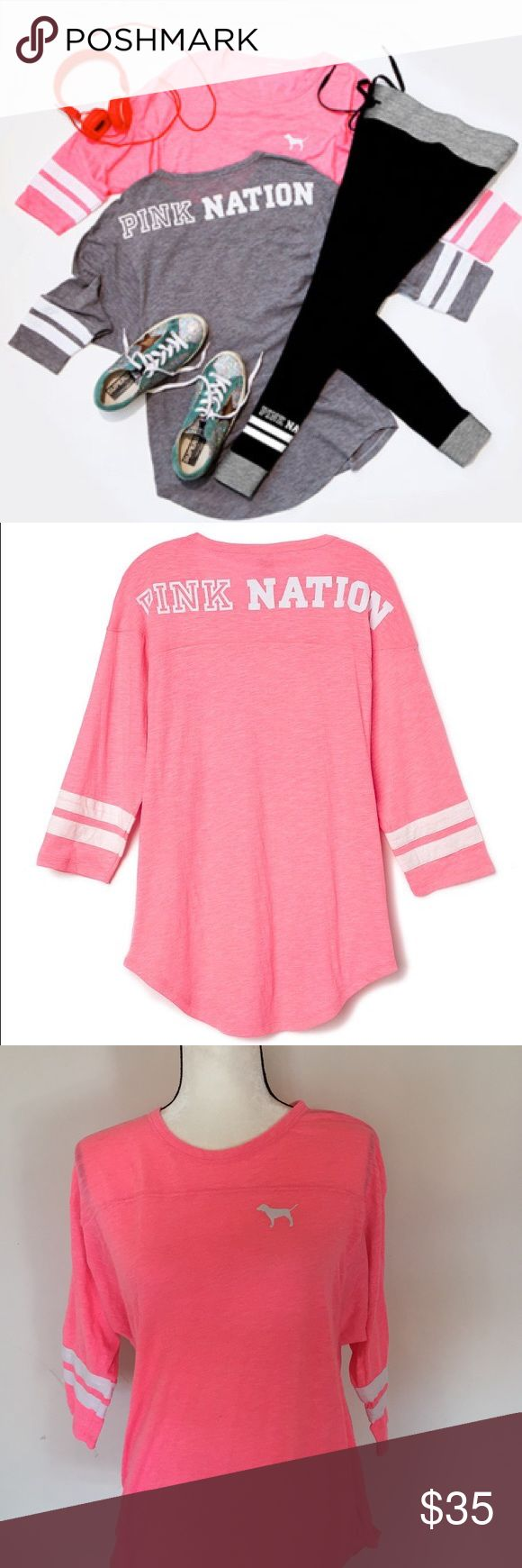 Pink jersey shirt Worn once like new condition PINK Victoria's Secret Tops