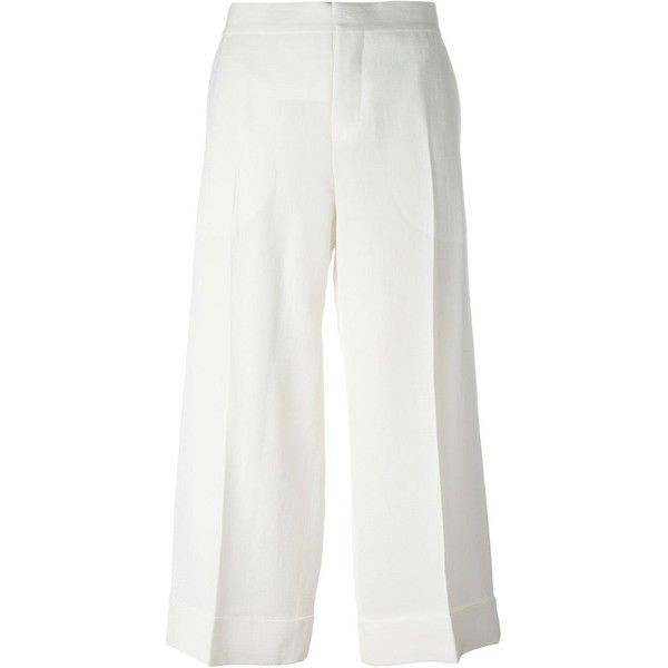 Marni cropped trousers ($428) ❤ liked on Polyvore featuring pants, capris, pants/jeans, high waisted wide leg trousers, white crop pants, wide leg cropped pants, white wide leg pants and white pants