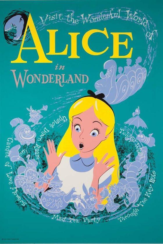 Vintage Alice in Wonderland Disneyland poster.