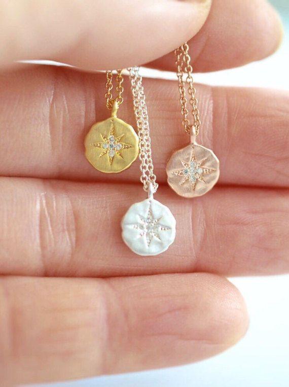 Starburst Necklace Northstar Necklace Star by mintnchipjewelry