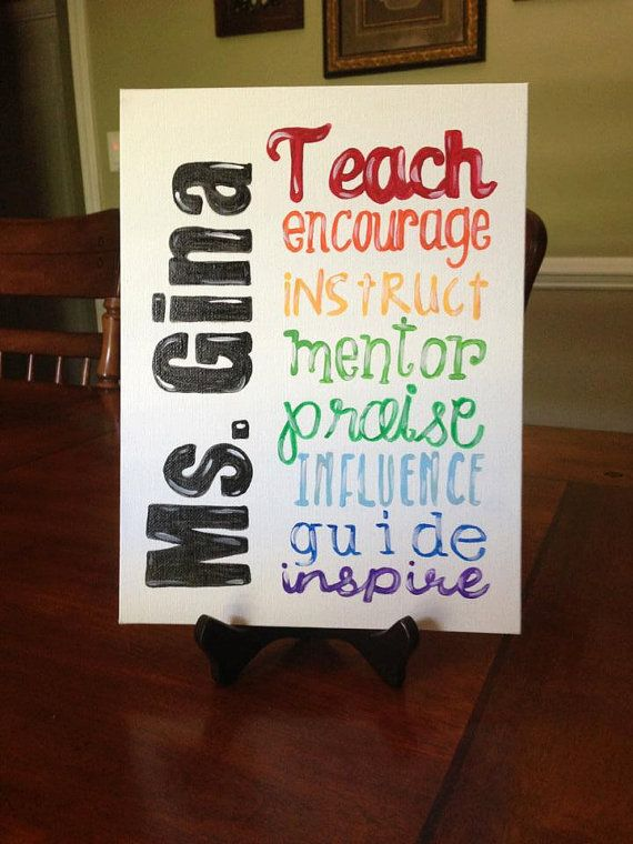 Teacher Name Canvas Painting by YouNameItShop on Etsy, $15.00