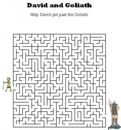 Kids Bible Worksheets-Free, Printable David and Goliath