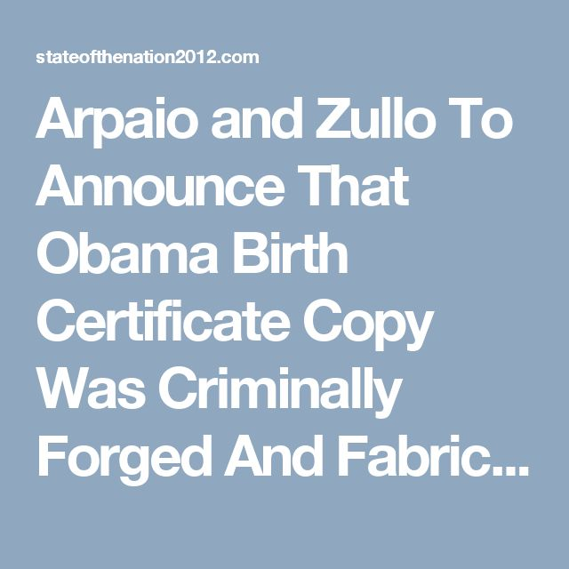 Arpaio and Zullo To Announce That Obama Birth Certificate Copy Was Criminally Forged And Fabricated | SOTN: Alternative News & Commentary
