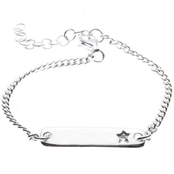 Bracelet sur chaîne avec plaque étoile personnalisable (argent 925°) : Marie.Laure.T - Gourmette argent - Berceau Magique