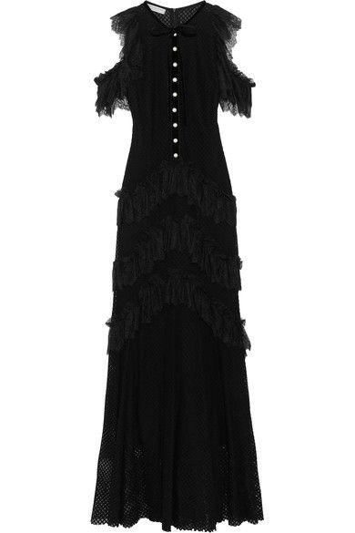 Philosophy di Lorenzo Serafini - Tiered Ruffled Cotton-blend Lace Maxi Dress - Black - IT48