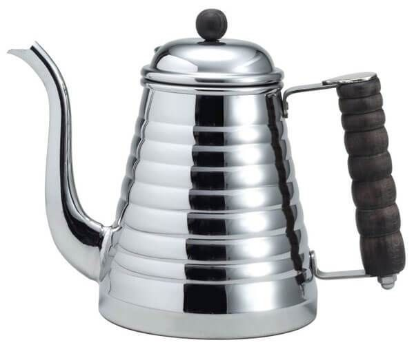 The kettle is primarily built from grade 18-8 stainless steel. It's thicker than most kettles, but also maintains a steady temperature for longer. The carved wooden handle is easy to handle when the steel is hot, and a brass thumb-rest above the handle makes for comfortable pouring.