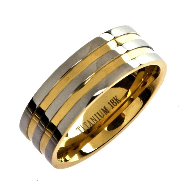 Titanium 18k Gold Plated Wedding Ring Band Comfort Fit 8mm Wide | eBay