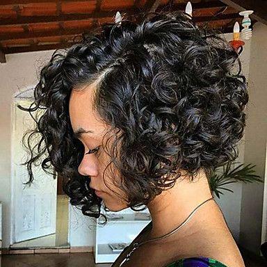 Peluca Pelo Natural Encaje Frontal Cabello Brasileño Rizado Corte Bob Mujer Densidad 130% 150% 180% con pelo de bebe Media Marrón Oscuro Marrón Medio Castaño Pelucas de Cabello Natural