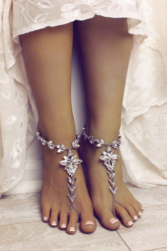 14416447c Silver Barefoot Sandals Beach Wedding Shoes Wedding Sandals ...