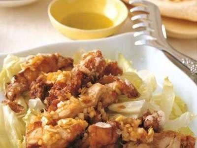 鶏のから揚げ ねぎソース  Kurihara Harumi Karaage 2013April  For Torotoro Donburi (not in recipe):  100cc dashi, usukuchi shoyu 1/2 T, mirin 1/2 T, sugar 1/2 t, salt to taste   Stir in mixture of 1/2 t katakuriko with 1 t water, 1 egg lightly mixed