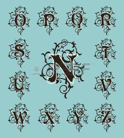 Vintage zestaw litery kwiaty i pi kne czcionki Monogramy filigran Art Deco Nouveau nowoczesnym stylu Zdjęcie Seryjne