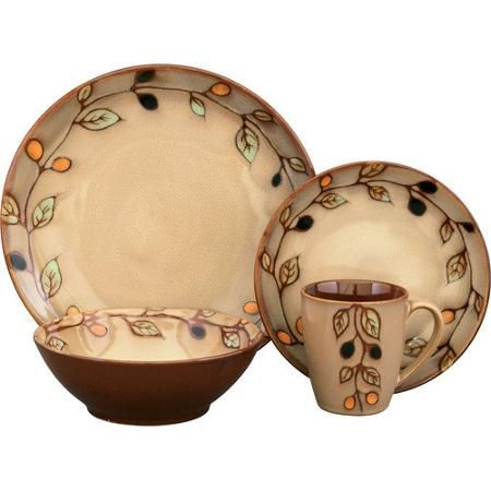 Sango vineyard dinnerware offers a soft light brown glaze accented with a vine and leaf design.  sc 1 st  Pinterest & 36 best Dish sets images on Pinterest | Dinnerware sets Dish sets ...