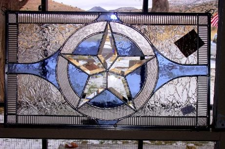Rustic Texas Circle Star stained glass custom stained leaded glass
