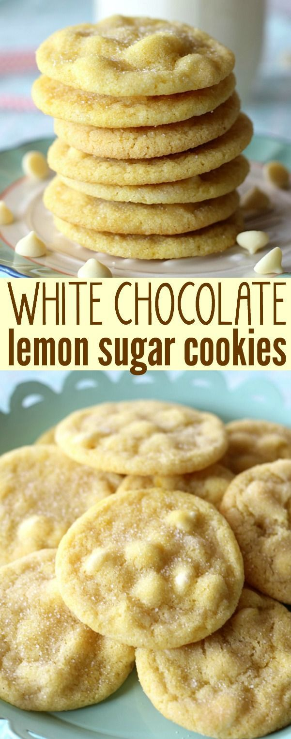 These Lemon Sugar Cookies are one of my favorites! They're filled with white chocolate chips and are so yummy and chewy!