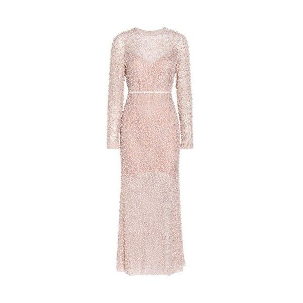 Elie Saab Pearl Beaded Dress (£8,710) ❤ liked on Polyvore featuring dresses, white, embellished dress, white special occasion dresses, holiday dresses, pearl dress and white embellished dress