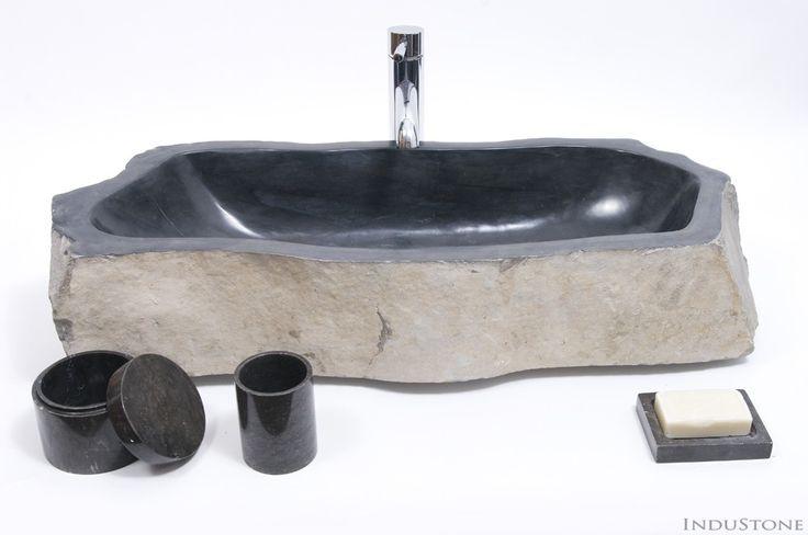 EROSI BLACK XL I kamienna umywalka nablatowa INDUSTONE - InduStone