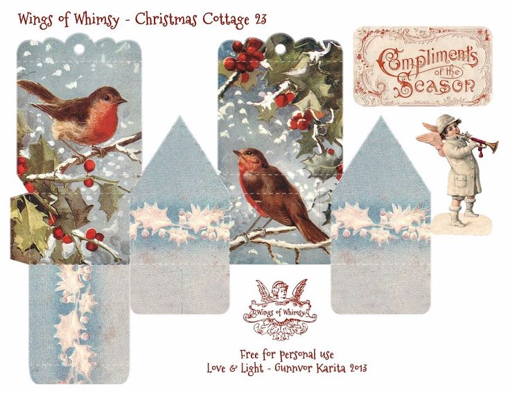 Wings of Whimsy Christmas Cottage 23 of 25 Free Printable 3d Cottage Printing all 25 now for my next year tree :-)