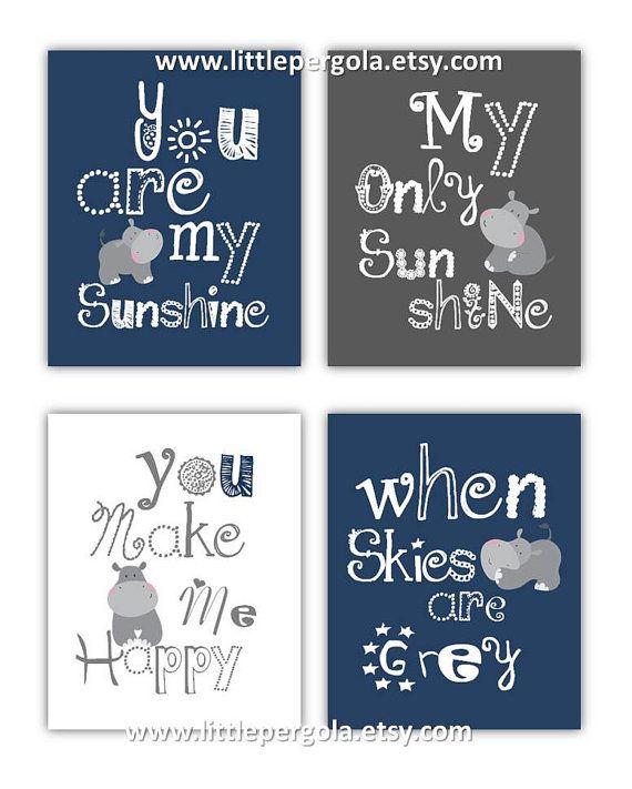 Hippo Art for Kids You are my sunshine Navy Blue by LittlePergola, $55.00