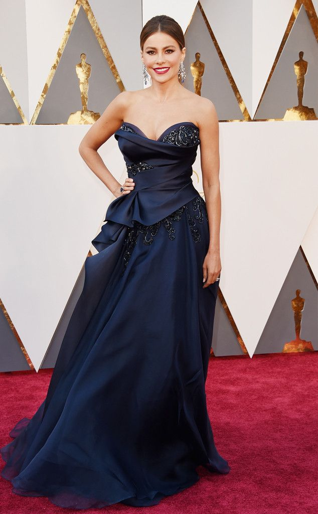 Oscars 2016: Sofia Vergara attends the awards ceremony in a Marchesa navy blue gown.