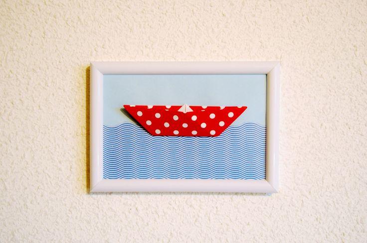 Cadre déco en Origami Red Boat : Chambre d'enfant, de bébé par petitspapierscelestes