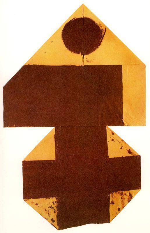 "Joseph Beuys . "" Mangkol ost-west "" 1960. Oli sobre paper. 101 x 65 cm."