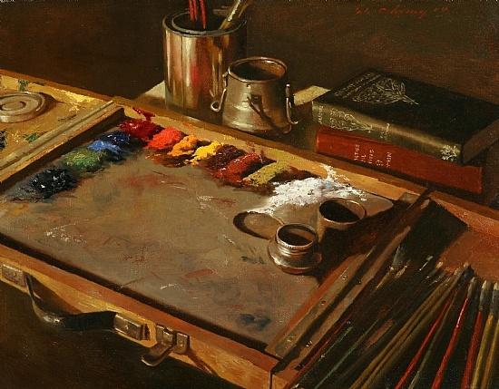 """Artist's Palette by Warren Chang Oil ~ 14"""" x 18"""""""