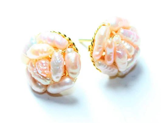 Pale Peach Pink Pearl Cluster Gold Coloured Vintage Pierced