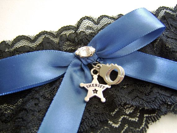 Sheriff Department or Police Officer Black Stretch Lace Wedding Garter with Your Choice of Law Enforcement Badge on Etsy, $16.95
