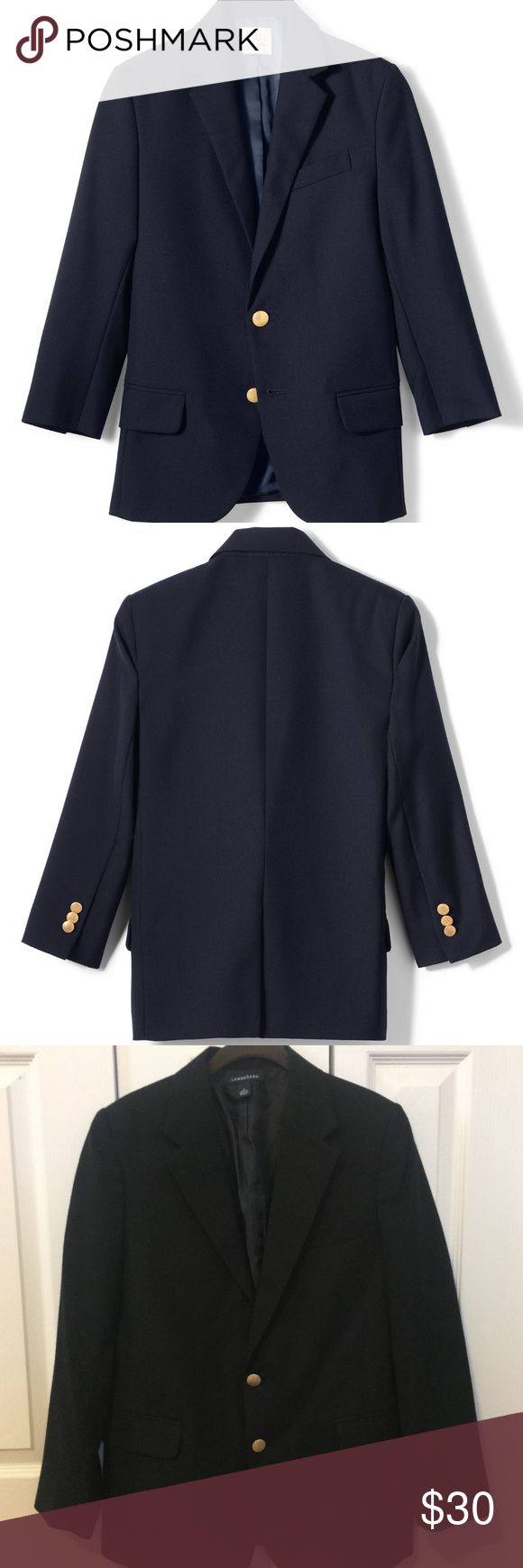 Lands End Boys Hopsack Blazer - Navy Uniform sz 16 Gently Worn but in good condition. Lands End School Uniform Boys Hopsack Blazer - Navy with Gold Buttons. Size 16 Regular It comes complete with a full lining, (just like a man's blazer), padded shoulders, vented back, and a felt-lined collar to lie smoothly. The durable poly/wool blend sheds wrinkles and keeps pills at bay.  Fully lined for comfort Padded shoulders Felt-lined collar 55% polyester/45% wool Lands' End Jackets & Coats Blazers