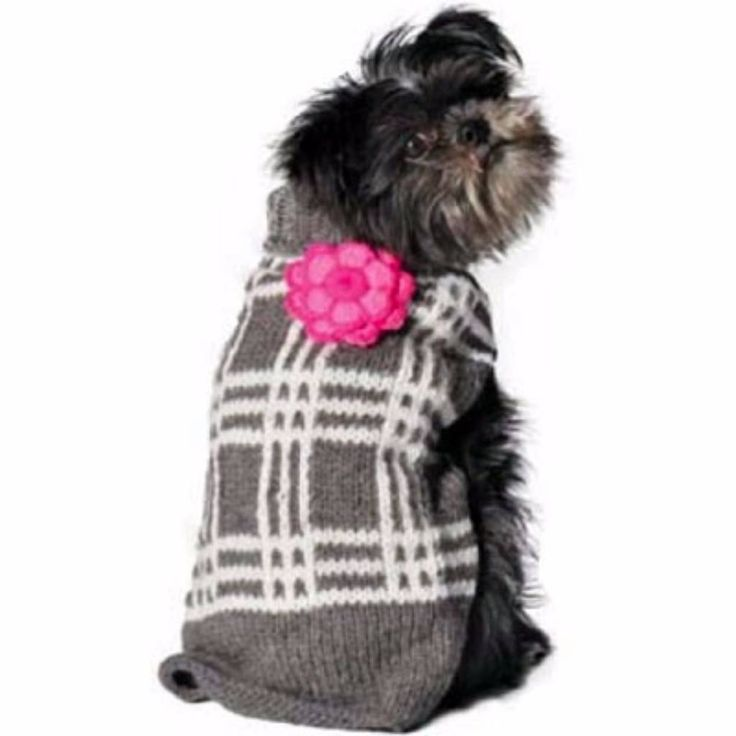 Chilly Dog Grey Plaid Dog Sweater