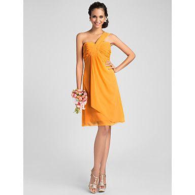 une ligne un genou longueur robe de demoiselle d'honneur de mousseline de soie épaule – CAD $ 113.05