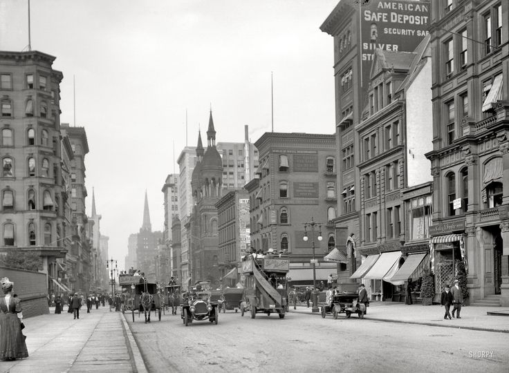"New York circa 1912. ""Fifth Avenue near 42nd Street."" Among the many establishments making this their address is the curiously named Bureau of Social Requirements. 8x10 glass negative, Detroit Publishing Co."