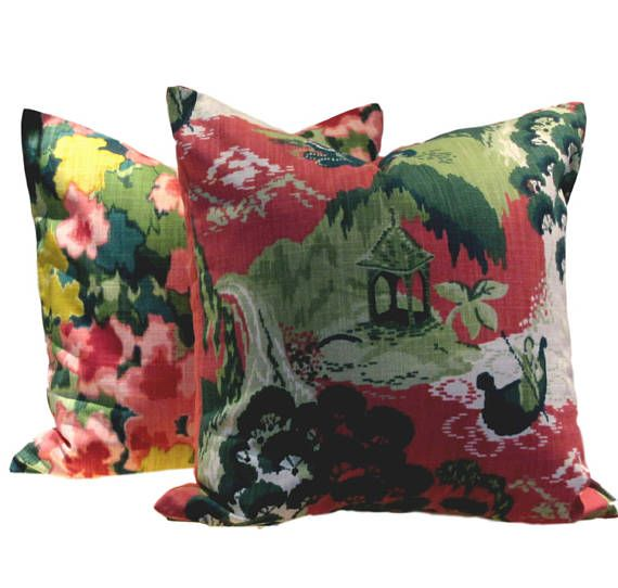 Robert Allen Pillow Cover Road to Canton Rhubarb, Shades of pink, vibrant greens and white From the vibrant Madcap Cottage collection, full of wit and whimsy featuring hand drawn patterns echoing those from the 50s and 60s. All cotton fabric, Reverse is sewn in co-ordinating solid color grass green linen from the Madcap Cottage Collection SEWN BY US IN CANADA PILLOW COVER ONLY with zippered closure All interior seams are reinforced and sewn corners are tapered to avoid dog ears dry cle...